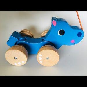 Blue Dinosaur Wooden Toddler Pull Along Toy